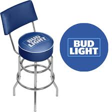 Bud Light Blue Padded Bar Stool with Back Free Shipping Today