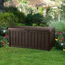 Sams Club Vinyl Outdoor Storage Sheds by Keter Glenwood Outdoor Plastic Deck Storage Container Box 101 Gal