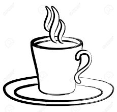 Art Black White Coffee In Cup Royalty Free Cliparts