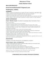 Kitchen Hand Resume Sample For Cooking