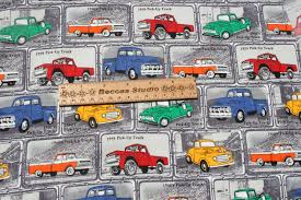 Vintage Chevy Pick Truck Cotton Fabric Sold By Piece 19