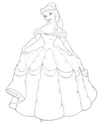 Princess Coloring Games Online Pages Ariel Belle And Her Gown Sheet Paint Canvas Silhouette Book Free