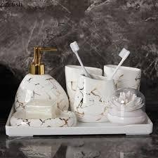 großhandel 6 7 teilesatz gold marmor keramik badzubehör set seifenspender zahnbürstenhalter tumbler seifenschale badprodukte supper007