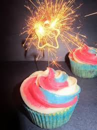 Patriotic Cupcakes with Sparklers