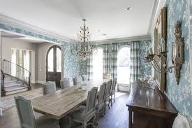 Colorful Dining Room With Floral Wallpaper Striped Drapes Antique Lighting