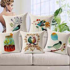 24 X 24 Patio Cushion Covers by Hand Paint Flower And Birds Custom Cushion Covers Love Couple