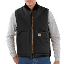 100 V01 Carhartt Mens Large Tall Black Cotton Duck Vest Arctic Quilt Lined