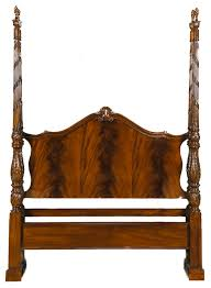 Niagara Furniture Mahogany Queen Size Bed with Hand Carved Flame