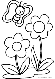 Tremendous Coloring Pages Flowers Butterfly With Two Color Page
