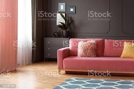 rosa sofa mit kissen in grau wohnzimmer interieur mit anlage am schrank echtes foto stockfoto und mehr bilder blau