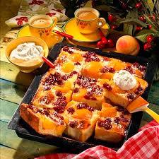 kirsch pfirsich kuchen mit schmandguß