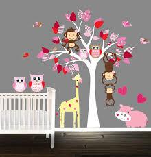 autocollant chambre bébé arbre de pépinière set stickers muraux hibou sticker