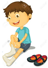 Illustration A Boy Putting Shoes Royalty Free Cliparts