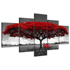 bilder drucke 3d abstrakt rot baum landschaft wandbilder