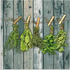 artland spritzschutz küche aus alu für herd spüle 60x60 cm küchenrückwand mit motiv kräuter pflanzen gewürze holzoptik landhaus shabby t5xn