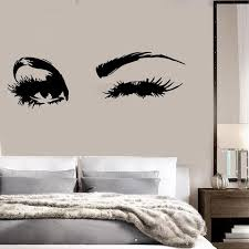 Beautiful Eyes Big Eye Lashes Wink Decor Wall Art Mural Vinyl Decal Sticker Unique Gift