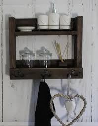 holz badregal mit haken für handtücher shabby vintage braun fertig montiert