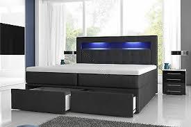 boxspringbett milano2 mit zwei bettkasten und led beleuchtung weiß oder schwarz ebay