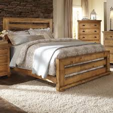 Knotty Pine Bedroom Furniture by Progressive Furniture Willow Queen Slat Bed With Distressed Pine