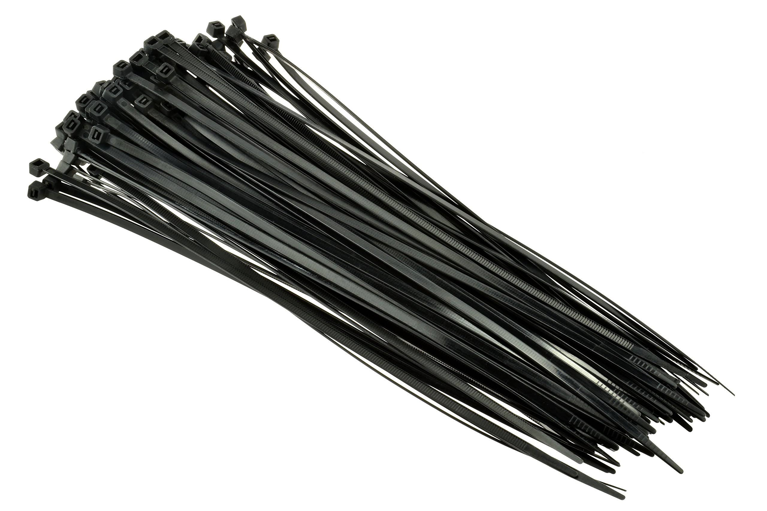 "SE CT1676B Heavy-Duty 16"" Black Cable Ties with 110-Lb. Tensile Strength, 100-Pack"