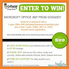 Win a 1 year fice 365 GoDaddy Business Essentials plan a $99