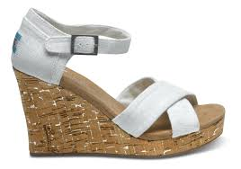 toms ivory linen women u0027s strappy wedges in white lyst