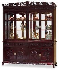 72 rosewood grape motif china cabinet asian