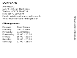 ᐅ öffnungszeiten dorfcafé am hügel 2 in losheim rimlingen