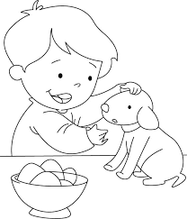 A Boy And Puppy Eating Eggs Coloring Page