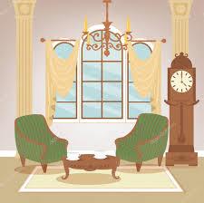wohnzimmer klassisches interieur vintage stil retro möbel zimmereinrichtung mit vintage kerzenständer innenraum vektorillustration 105857900