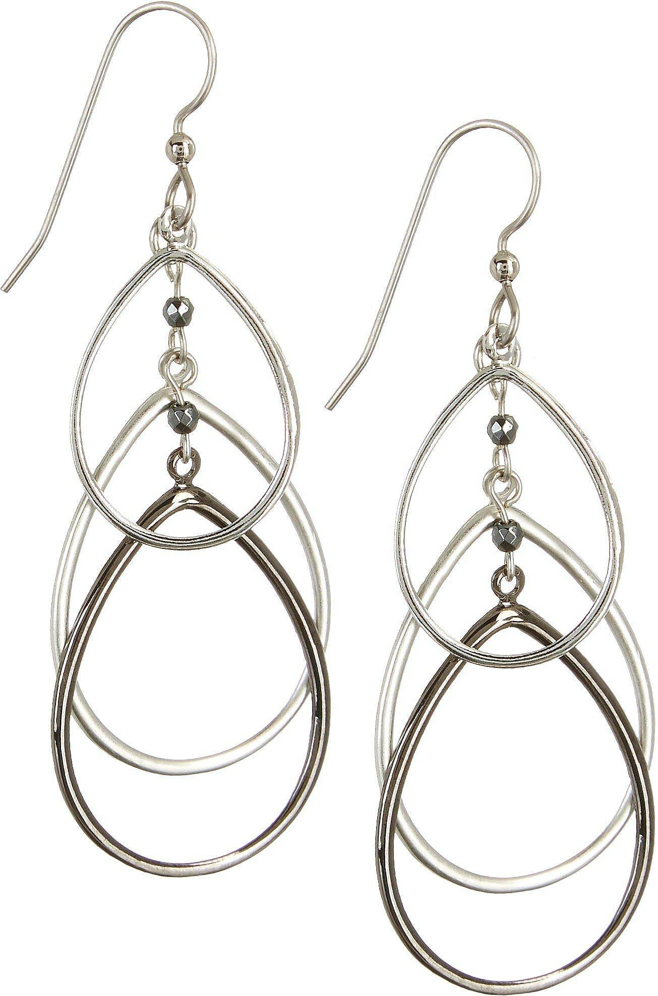 Silver Forest Layered Teardrop Earrings