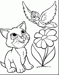 Excellent Cute Animal Coloring Pages With Spring Flowers And Preschool