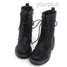 Short Boots Lace Up Womens Shoes Black