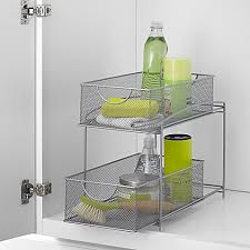 Bed Bath And Beyond Glass Bathroom Shelves by Org Mesh 2 Tier Sliding Cabinet Basket In Silver Bed Bath U0026 Beyond