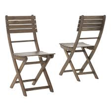 Noble House Positano Grey Foldable Wood Outdoor Dining Chair (2-Pack)