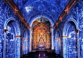 portuguese blue and white tiles is covered in vibrant blue and