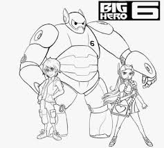 Hamada And Baymax Clipart Outline Cute Simple Kids Free Printable Big Hero