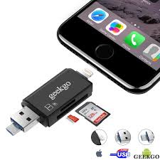 Geekgo SD Card Reader Micro SD USB Memory Card Reader Adapter Viewer for iPhone iPad Android Mac Supports Lightning Micro USB OTG 3 in 1 Black