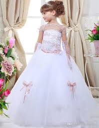 white off shoulder short sleeve lace ball gown floor length girls