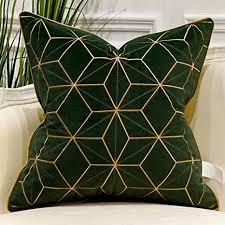 avigers 45 7 x 45 7 cm grün gold karierter kissenbezug luxuriöser europäischer kissenbezug dekoratives kissen für wohnzimmer schlafzimmer auto