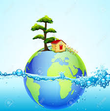 100 House Earth Illustration Of In Splash Of Water With And Tree Royalty