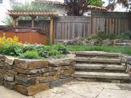 Backyard With Stone Retaining Wall And Steps - L. Huls Designs | L ... Low Maintenance Simple Backyard Landscaping House Design With Patio Ideas Stone Home Outdoor Decoration Landscape Ranch Stepping Full Image For Terrific Sets 25 Trending Landscaping Ideas On Pinterest Decorative Cement Steps Groundcover Potted Plants Rocks Bricks Garden The Concept Of Designs Partial And Apopriate Fire Pit Exterior Download
