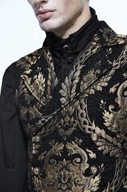 veste de cuisine homme brodé veste homme sans manches avec motifs baroques dorés brodés