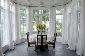 Dining Room Bay Window Curtains Traditional With Floor To Ceiling Windows