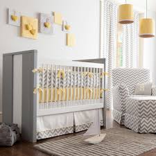 Gray and Yellow Zig Zag Crib Bedding