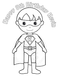 Kevin Superhero Coloring Page Superheroes Pages Personalized Printable