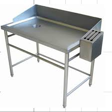 supermarket used stainless steel fish cleaning table with head