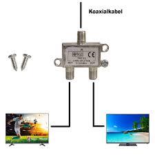 Y Verteiler TV Kabel Fernsehen Adapter 2 Fach Splitter Metall