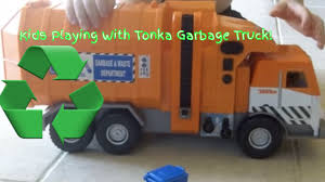 Orange Toy Tonka GARBAGE TRUCK Picking Up TRASH L Garbage Trucks ...