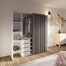 dressing extensible en bois blanc rideau taupe dr6017